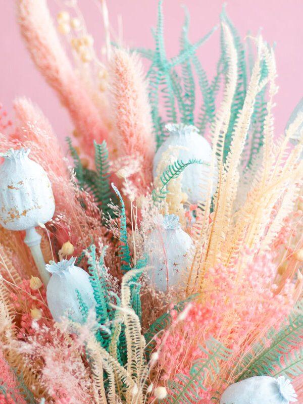 Ramo flor preservado rosa y turquesa- Loreak